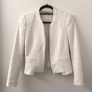Zara summer white cotton blazer w/zipper
